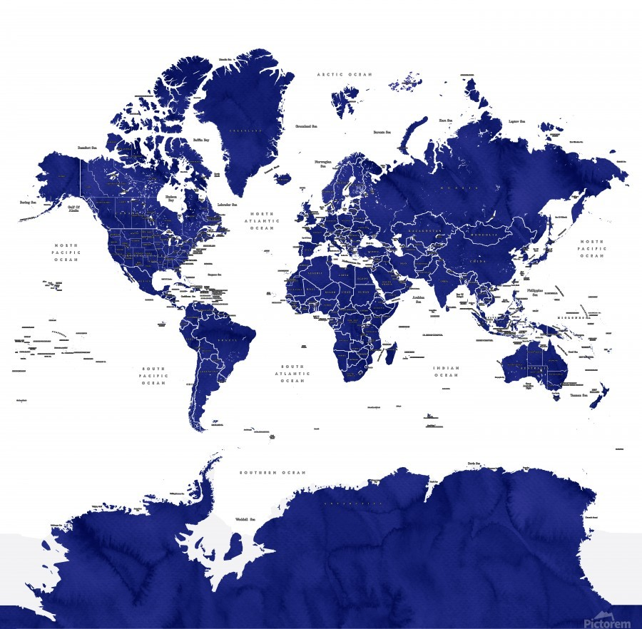 Navy blue watercolor world map with countries and states labelled  Print