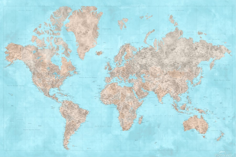 highly detailed watercolor world map in neutrals and light blue  Print