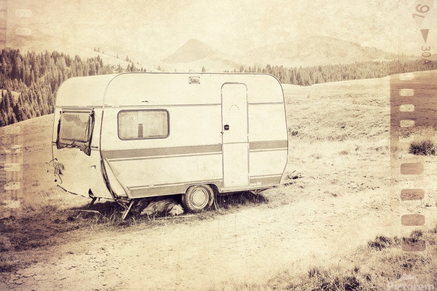 vintage travel trailer  Print