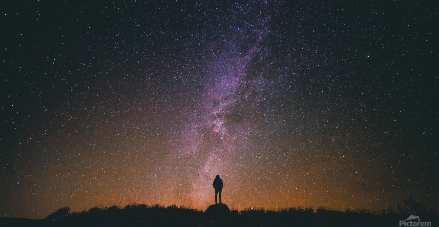 starry night, starry sky, silhouette, night, sky, starry, star, night sky,  glow, light, night sky stars, - fabartdesigns - Canvas Artwork