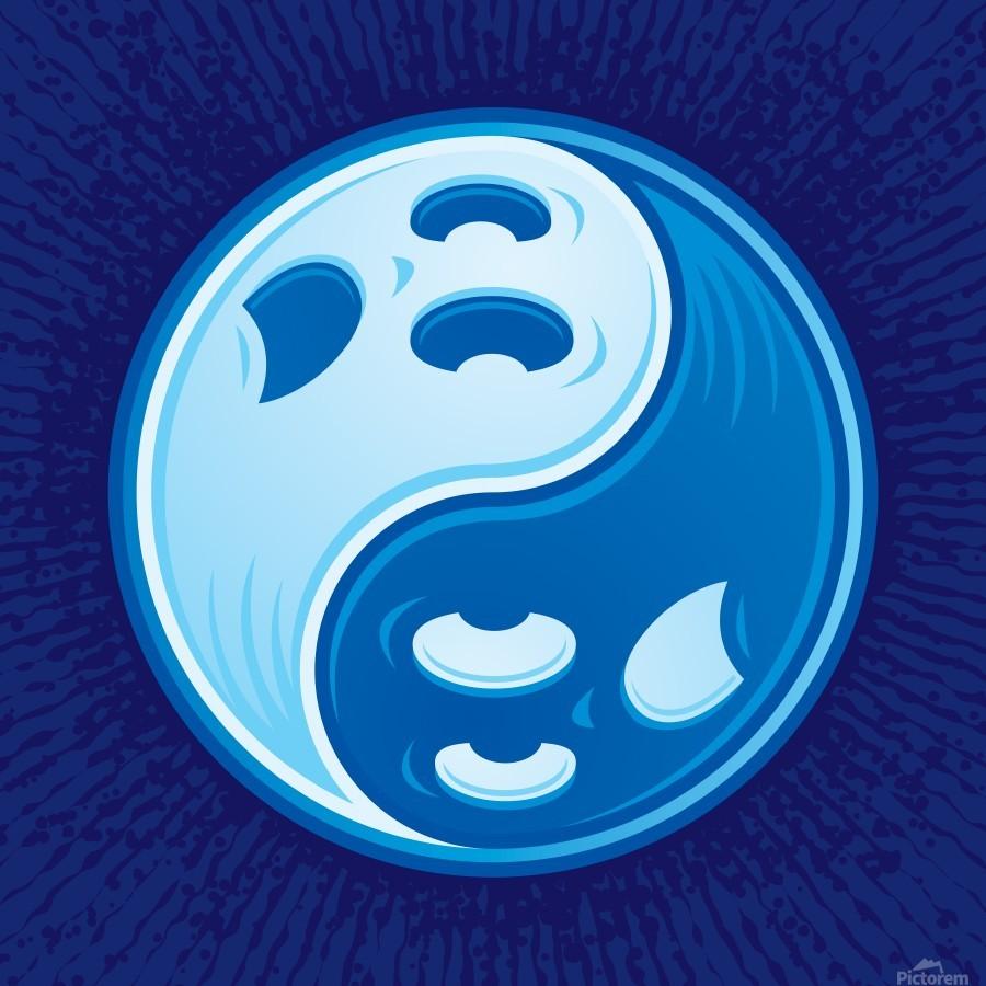 Ghost Yin Yang Symbol  Print