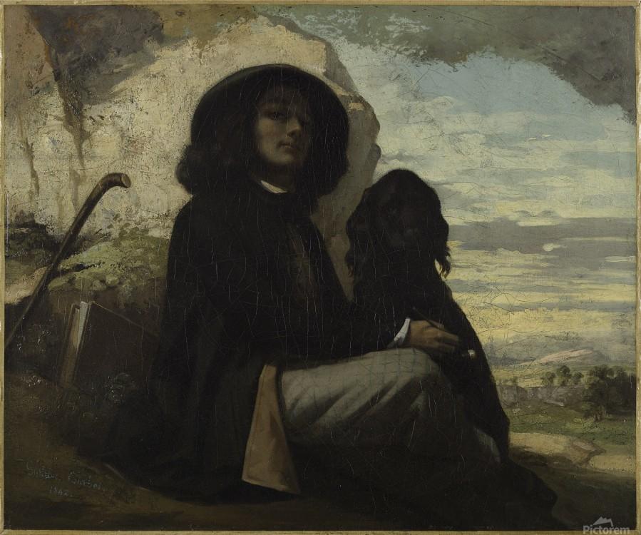 Autoportrait dit Courbet au chien noir  Imprimer