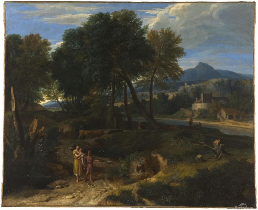 Pastorale avec un jeune patre et une femme avec un enfant dans les bras  Print