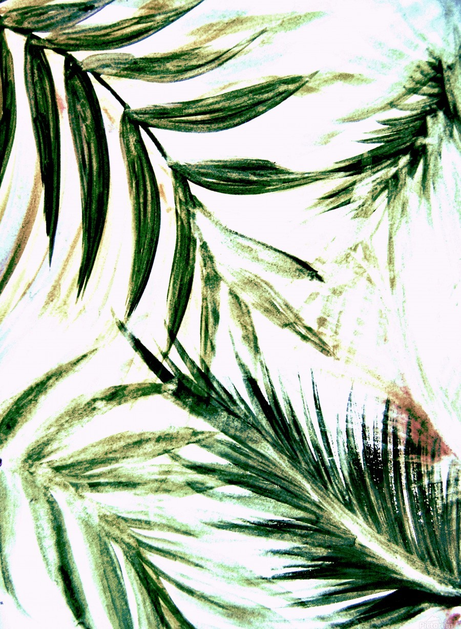 White Green Palm Tree Leaves Tropical Print Jacqueline Mcculloch