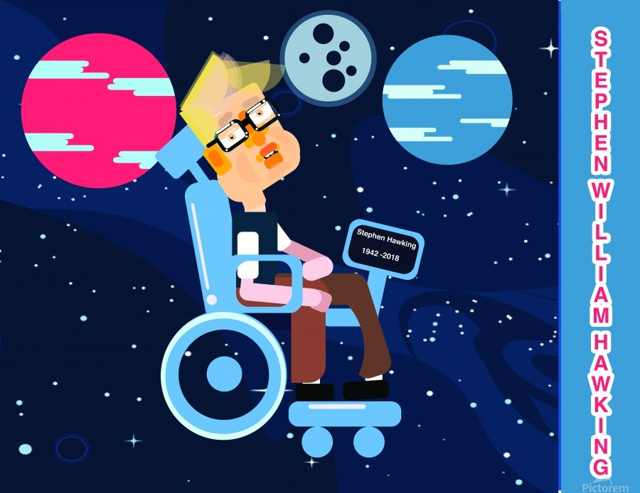 Stephen William Hawking illustartion  Print