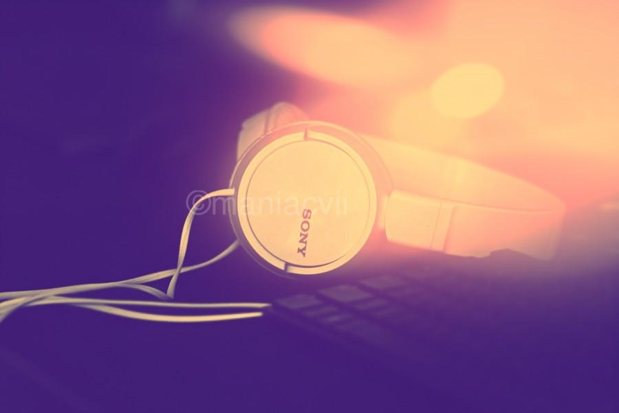 Sony Headphones by a Keyboard  Print