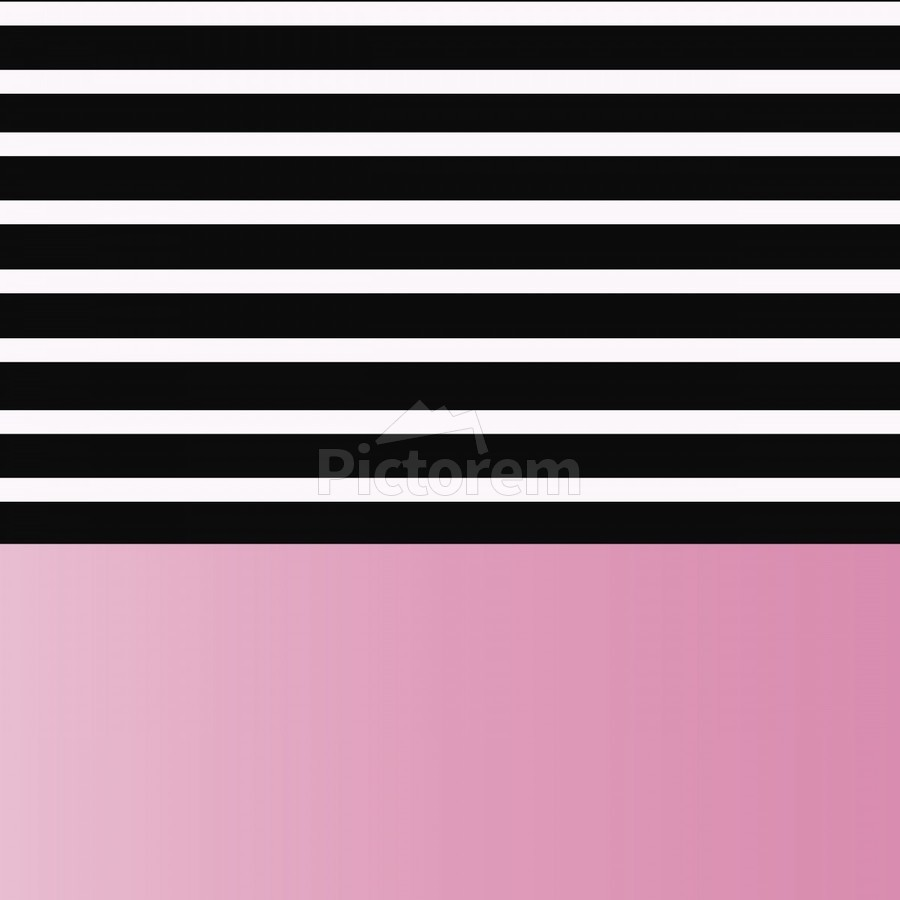 Black & White Stripes with Baby Pink Patch  Print