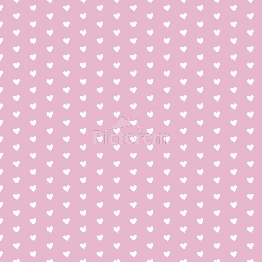 Sweet Lilac Heart Shape Pattern  Print