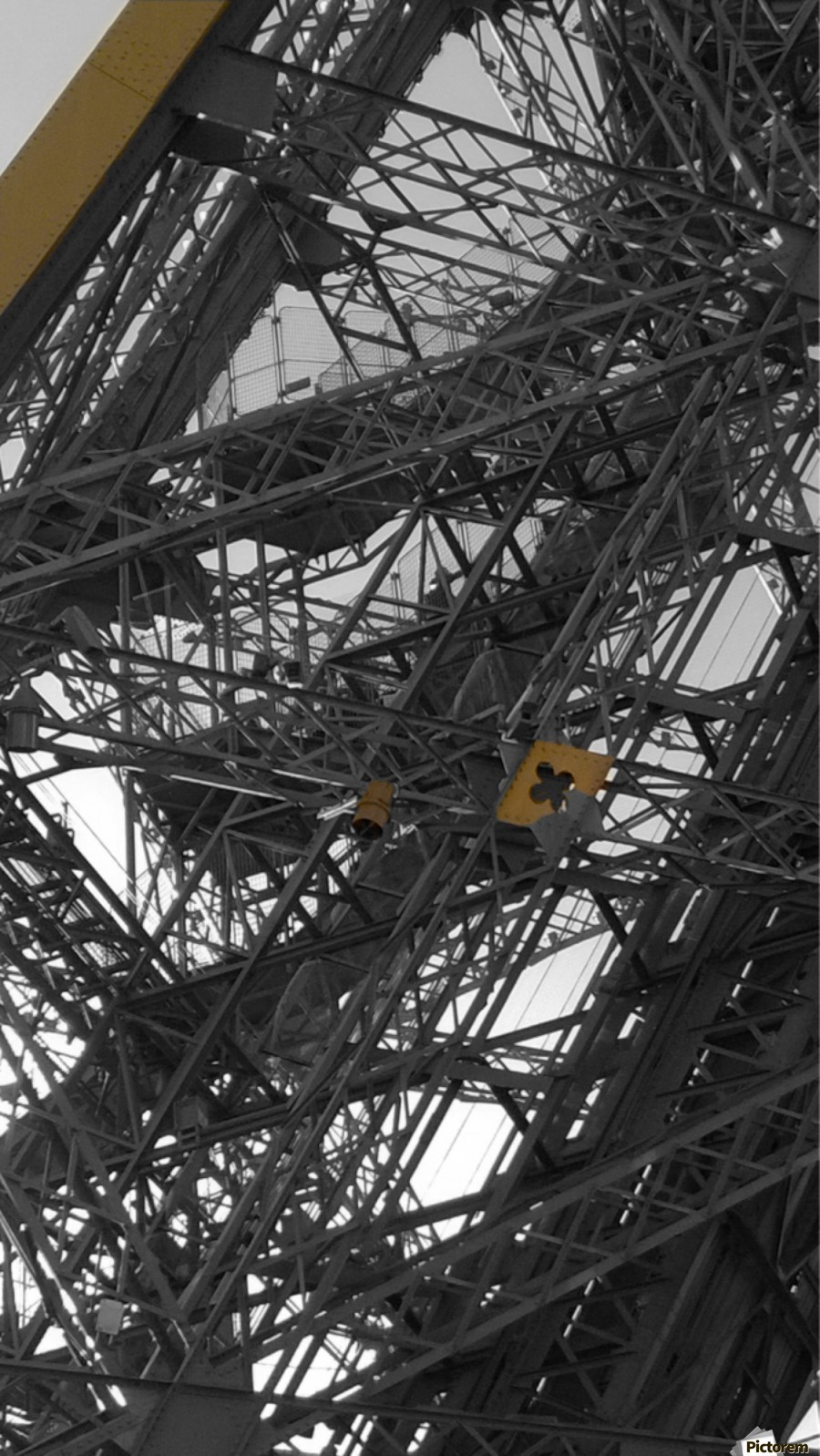 Eiffel tower Paris gold on black and white   Print