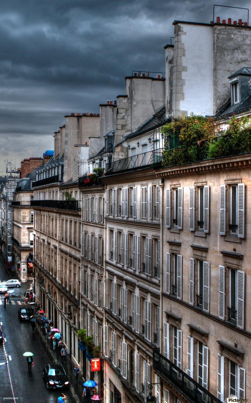 autumn rain paris france tom prendergast  Print