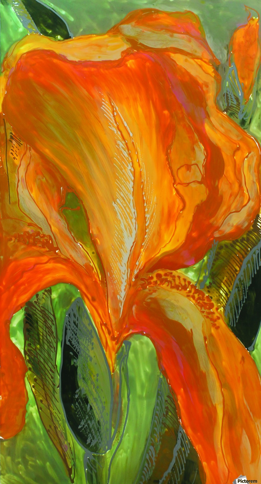 Polyptic with irises 2 by Vali Irina Ciobanu  Print