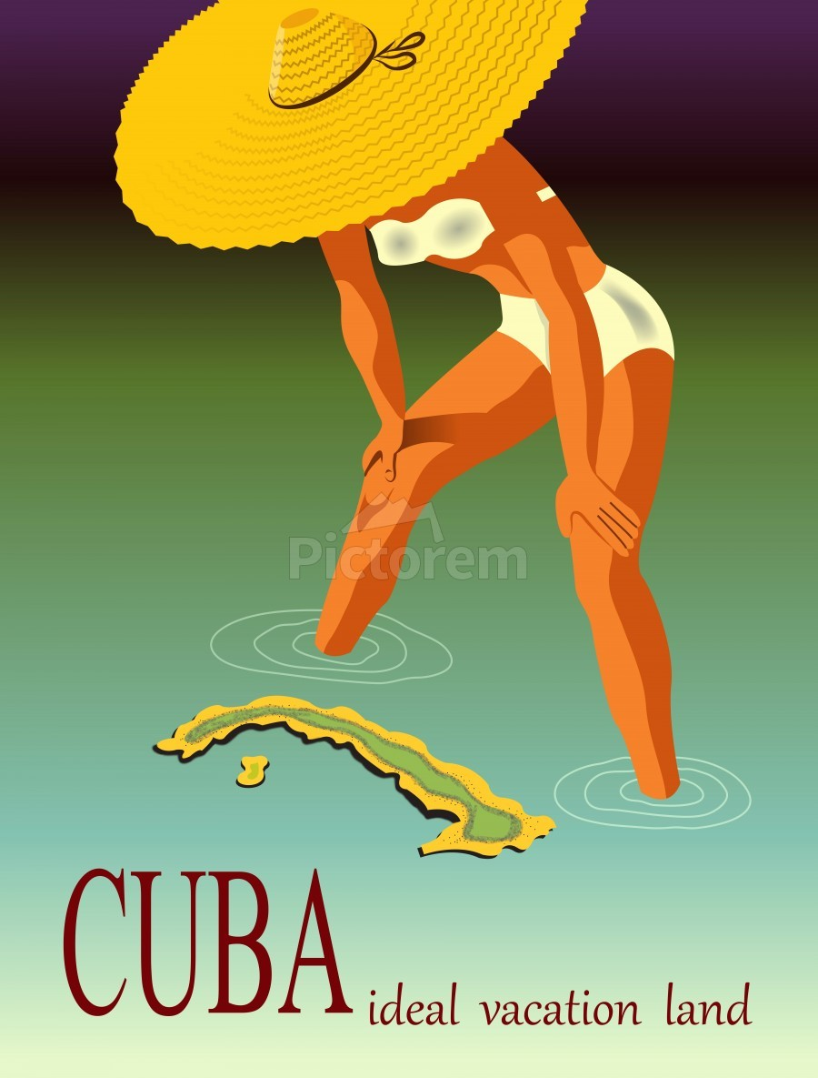 Big Girl over Cuba  Print