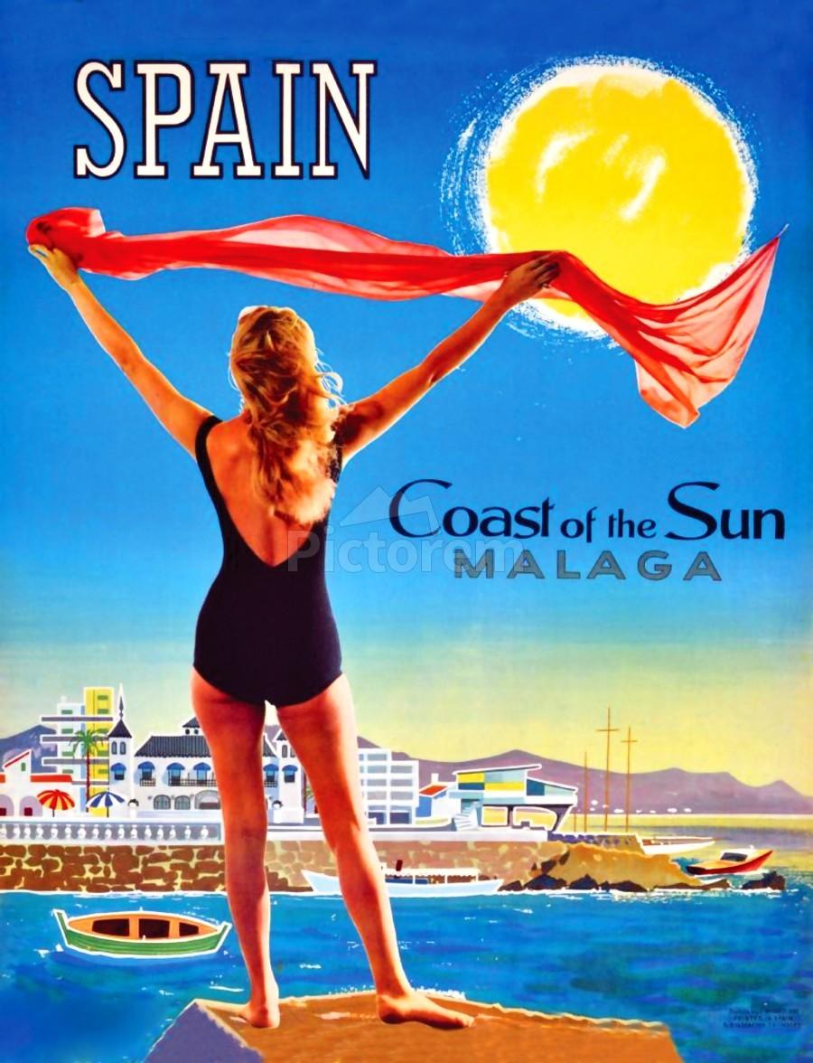 Girl on Malaga Beach  Print