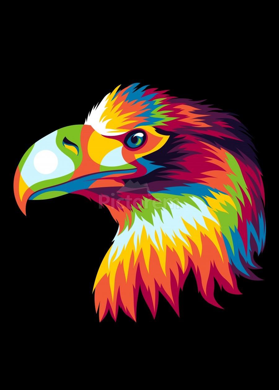 Bird of Prey in Colorful Pop Art Illustration  Print