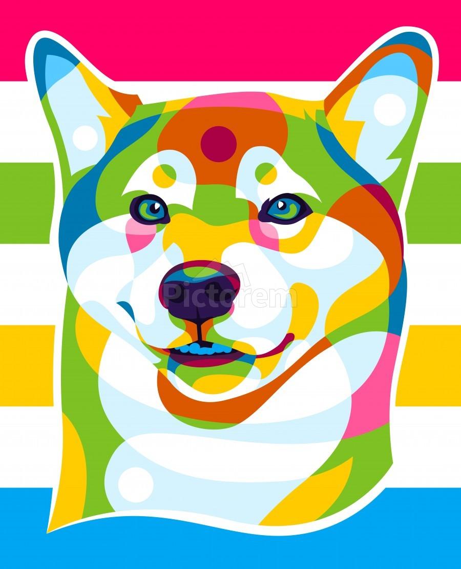 Shiba Inu Colorful Dog  Print