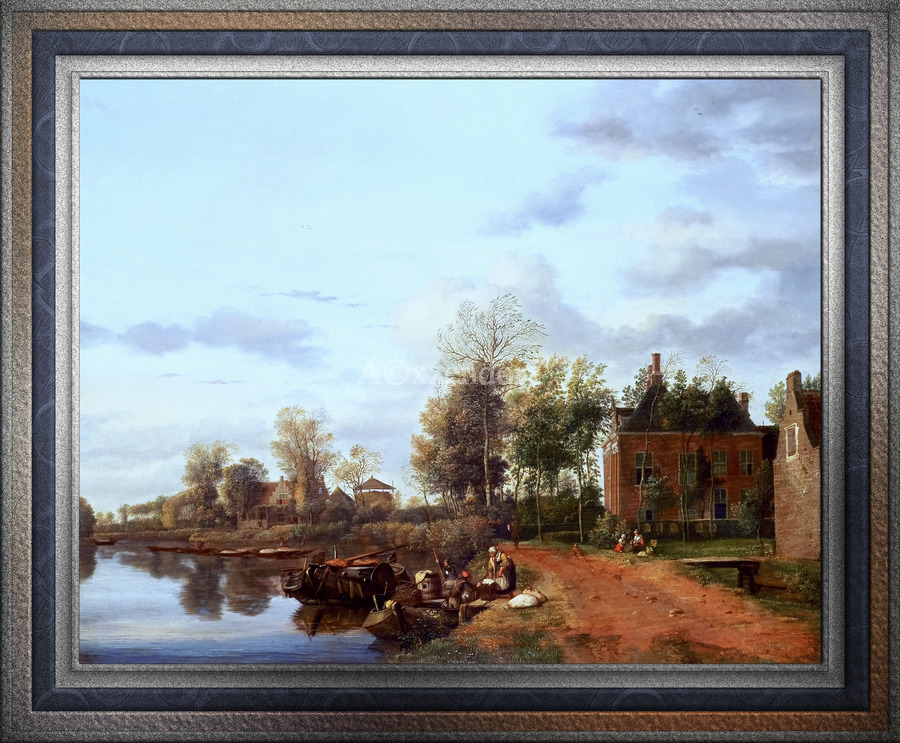 A Country House on the Vliet near Delft by Jan van der Heyden Classical Fine Art Xzendor7 Old Masters Reproductions  Print