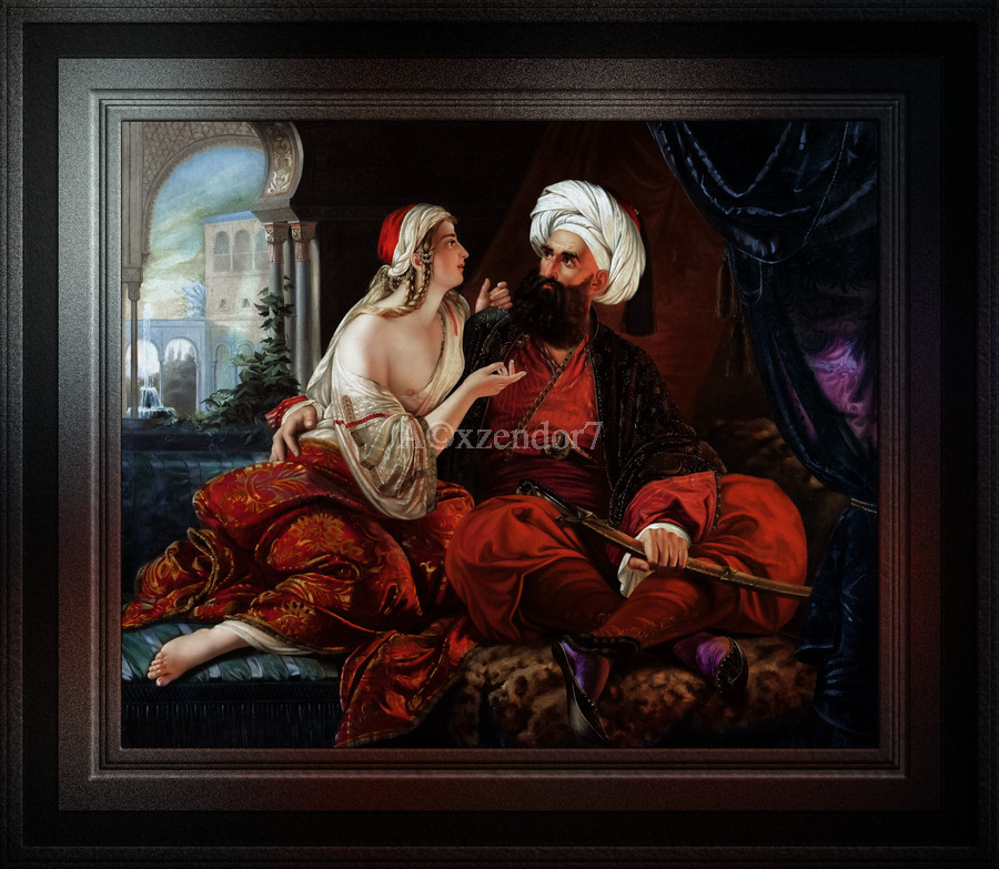 Ali Pasha and Kira Vassiliki by Paul Emil Jacobs Classical Fine Art Xzendor7 Old Masters Reproductions  Print