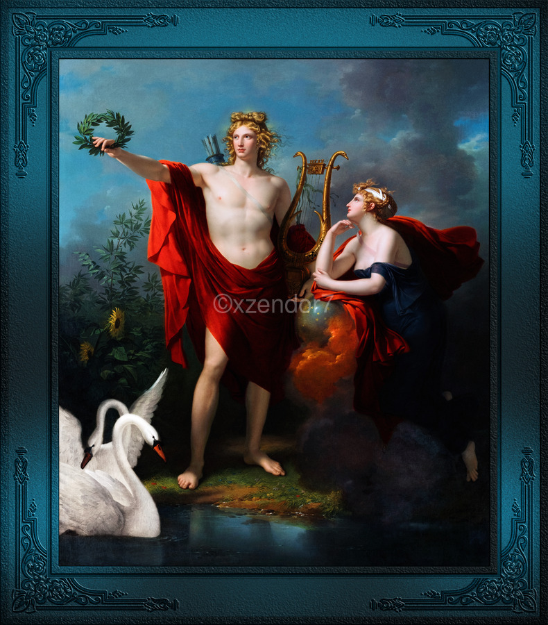 Apollo God of Light with Urania Muse of Astronomy by Charles Meynier Classical Fine Art Xzendor7 Old Masters Reproductions  Print