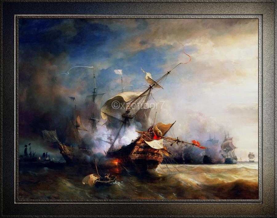 Battle of Cape Lizard in 1707 by Jean Antoine Theodore Gudin Classical Fine Art Xzendor7 Old Masters Reproductions  Print
