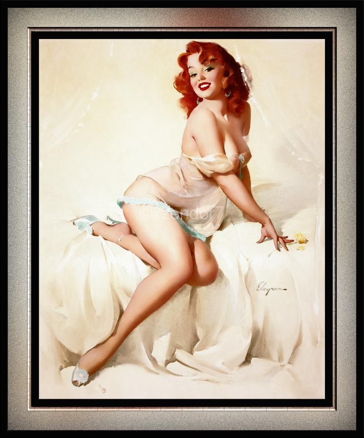 Bedside Manner by Gil Elvgren Vintage Illustrations Xzendor7 Old Masters Reproductions  Print