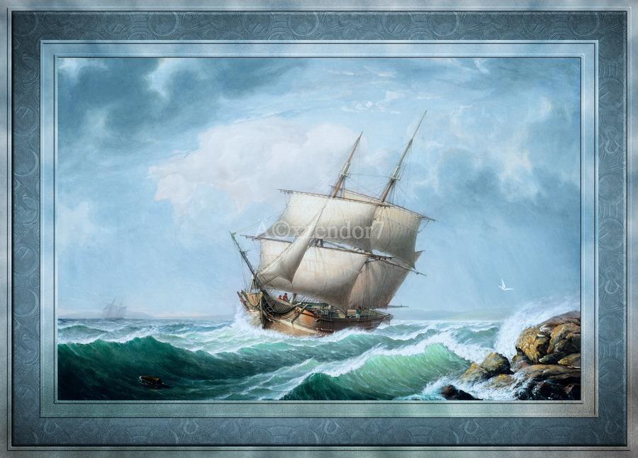 Brig Off the Maine Coast by Fitz Hugh Lane Classical Marine Fine Art Xzendor7 Old Masters Reproductions  Print