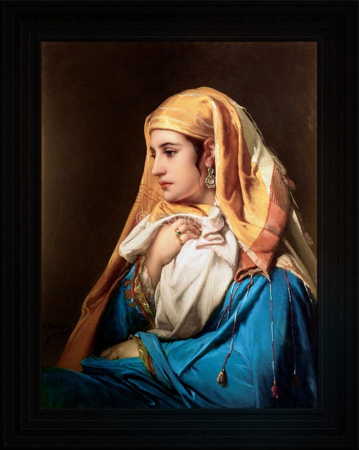 Contemplation by Belgian Painter Jean-Francois Portaels Classical Fine Art Xzendor7 Old Masters Reproductions  Print