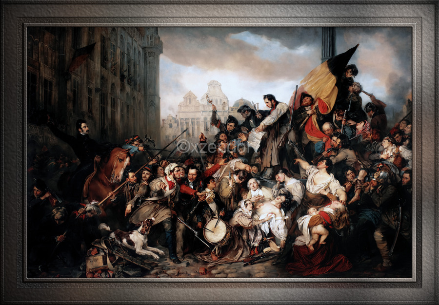 Episode of the September Days 1830 by Gustave Wappers Classical Fine Art Xzendor7 Old Masters Reproductions  Print