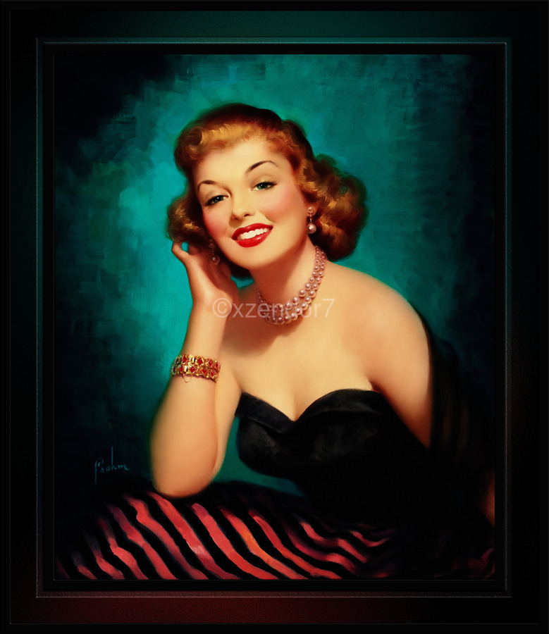 Evening Glamour Girl by Art Frahm Glamour Pin-up Vintage Art  Print