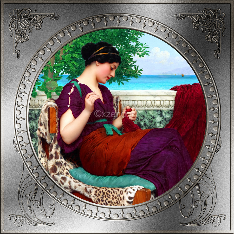 Far Away Thoughts c1911 by John William Godward Classical Fine Art Xzendor7 Old Masters Reproductions  Print