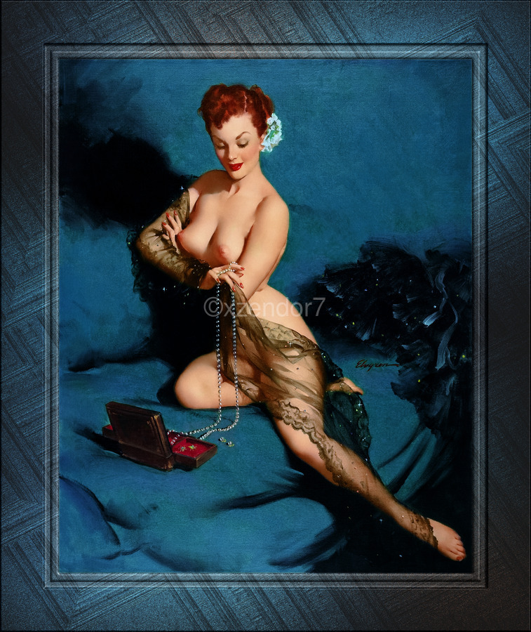 Fascination by American Painter Gil Elvgren Vintage Illustrations Xzendor7 Old Masters Reproductions  Print