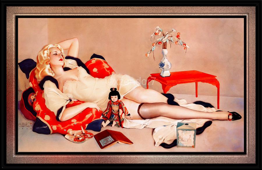 Fleurs du Mal by Alberto Vargas Vintage Pin-Up Girl Art  Print