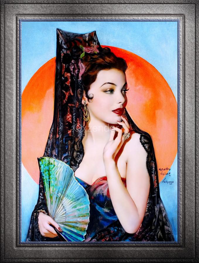 Gene Tierney as Lola Montez by Henry Clive Vintage Xzendor7 Old Masters Art Deco Reproductions  Print