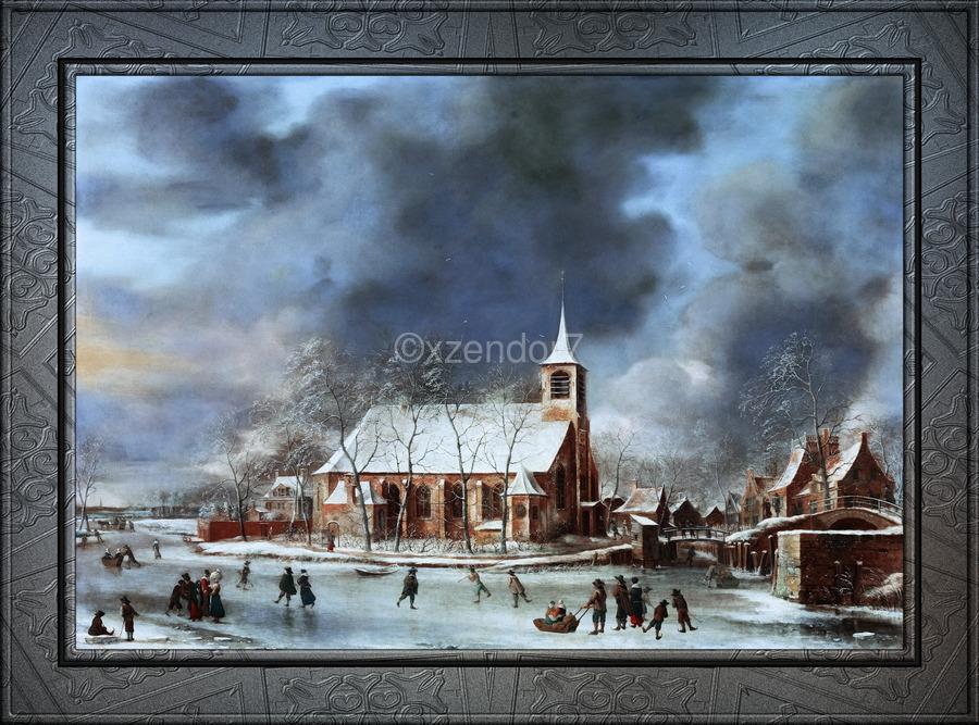 Gezicht op de Kerk te Sloten in de Winter by Jan Abrahamsz Beerstraaten Classical Fine Art Xzendor7 Old Masters Reproductions  Print