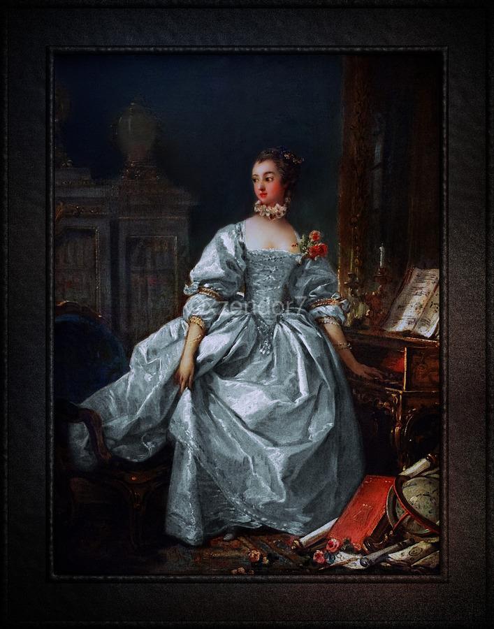 La Marquise de Pompadour by Francois Boucher Classical Fine Art Xzendor7 Old Masters Reproductions  Print