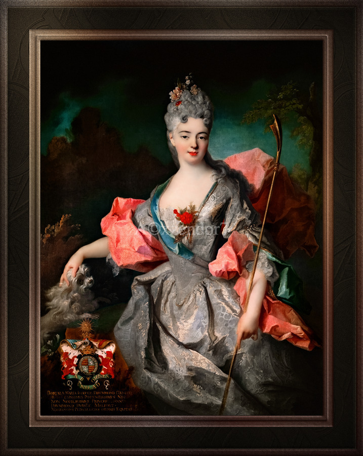 Lady Maria Josefa Drummond by Jean-Baptiste Oudry Classical Fine Art Xzendor7 Old Masters Reproductions  Print