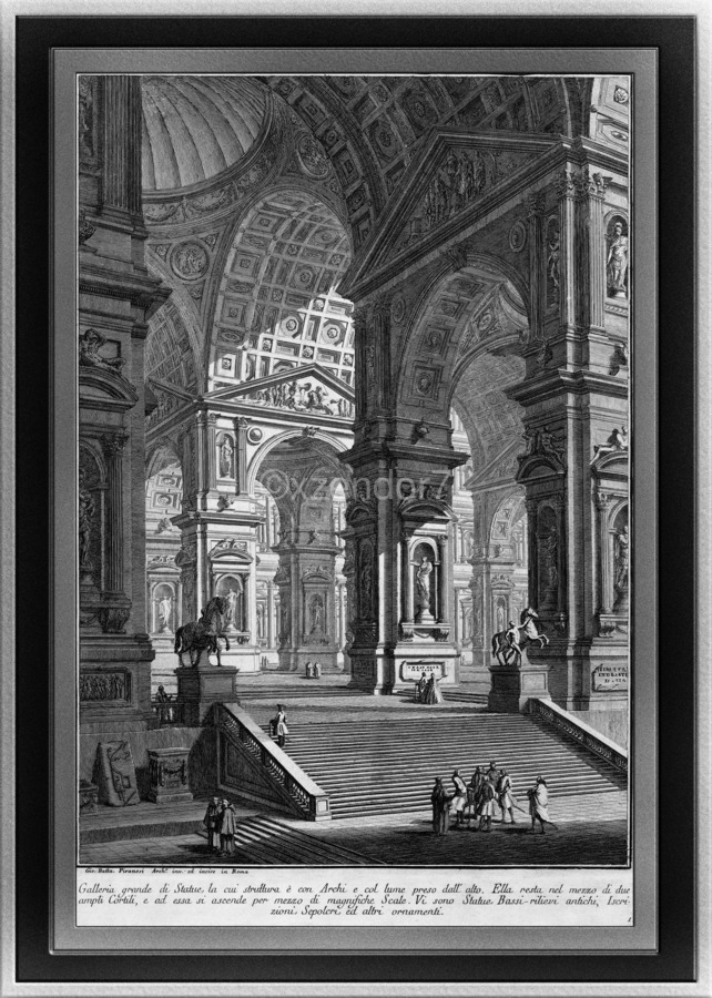 Large Sculpture Gallery Built On Arches by Giovanni Battista Piranesi Classical Fine Art Xzendor7 Old Masters Reproductions  Print