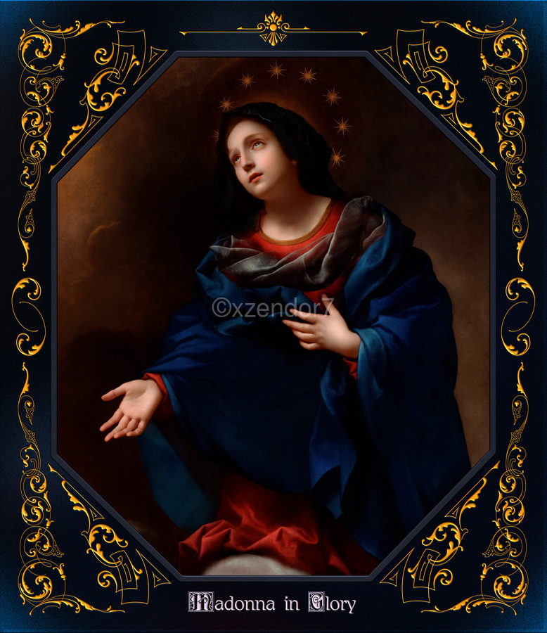 Madonna in Glory by Carlo Dolci Blue Gold Border Xzendor7 Old Master Art Reproductions  Print