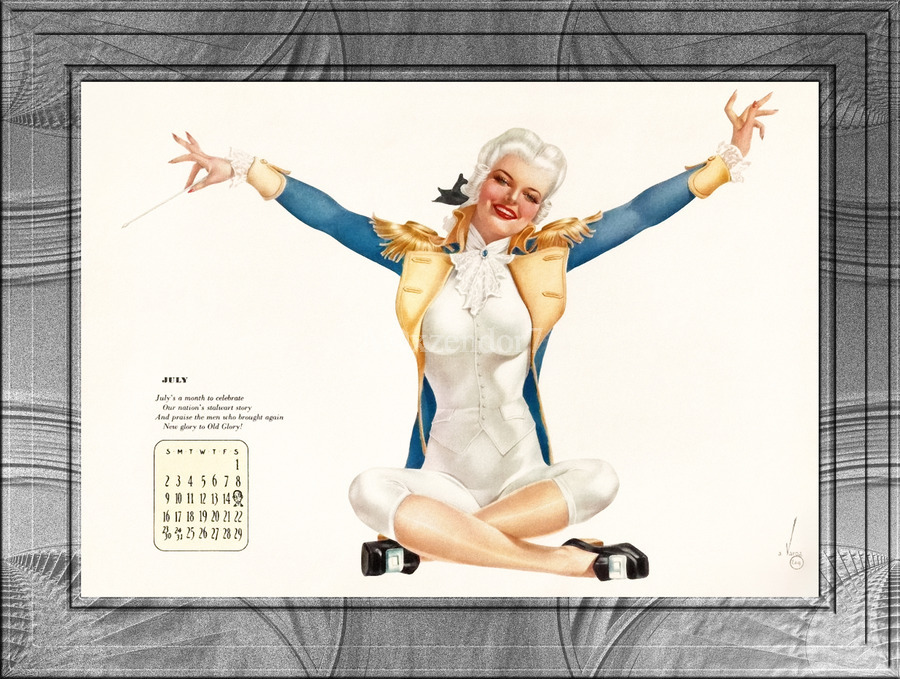 Miss George Washington Celebrating Old Glory by Alberto Vargas Vintage Pinup Girl Xzendor7 Old Masters Reproductions  Print