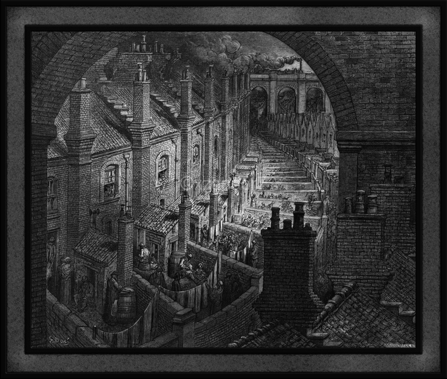 Over London by Rail by Gustave Dore Classical Fine Art Xzendor7 Old Masters Reproductions  Print