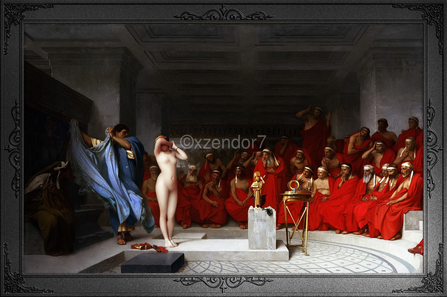 Phryne Revealed Before The Areopagus by Jean-Leon Gerome Classical Fine Art Xzendor7 Old Masters Reproductions  Print