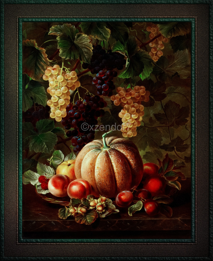 Pumpkin Platter by Johan Laurentz Jensen Classical Fine Art Xzendor7 Old Masters Reproductions  Print