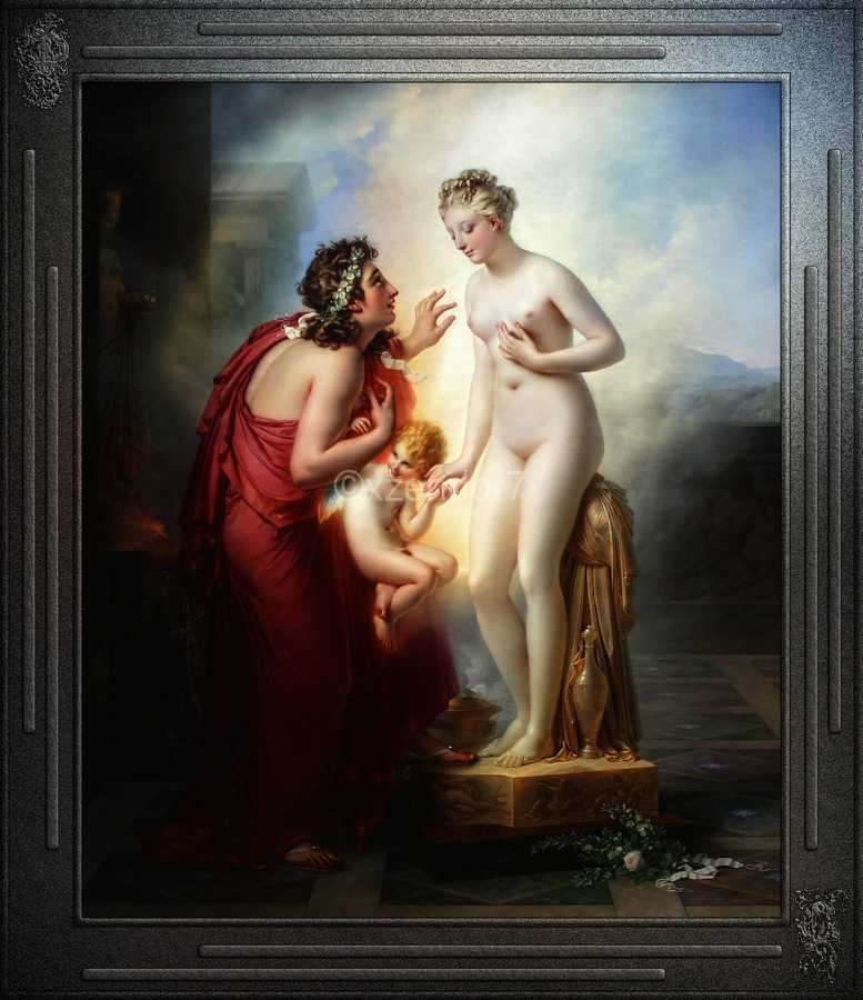 Pygmalion et Galatee byAnne-Louis Girodet-Trioson Classical Fine Art Xzendor7 Old Masters Reproductions  Print