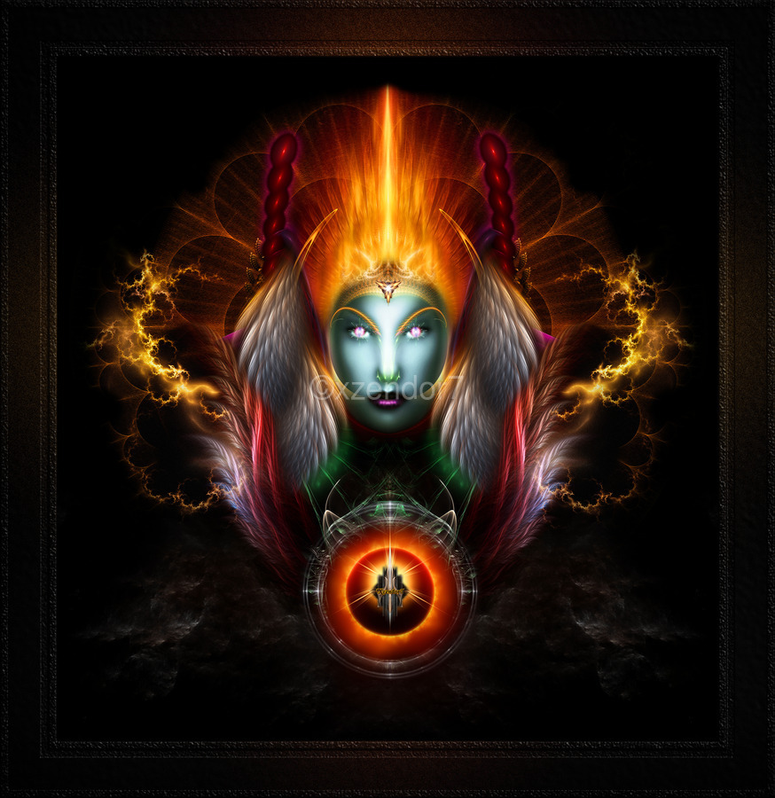 Riddian Queen Dynasty Of Power On Black Fractal Art Fantasy Portrait  Print