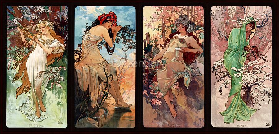 Seasons by Alphonse Mucha Art Nouveau Xzendor7 Old Masters Art Reproductions  Print