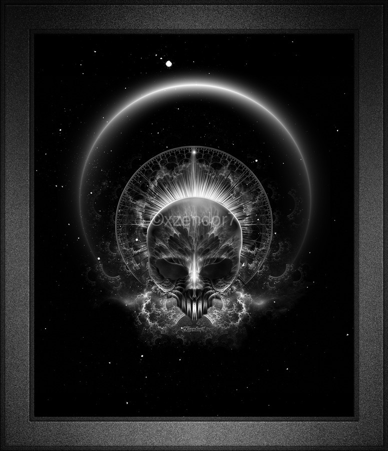 Gothic Skull Blaze Abstract Digital Art Composition  Print