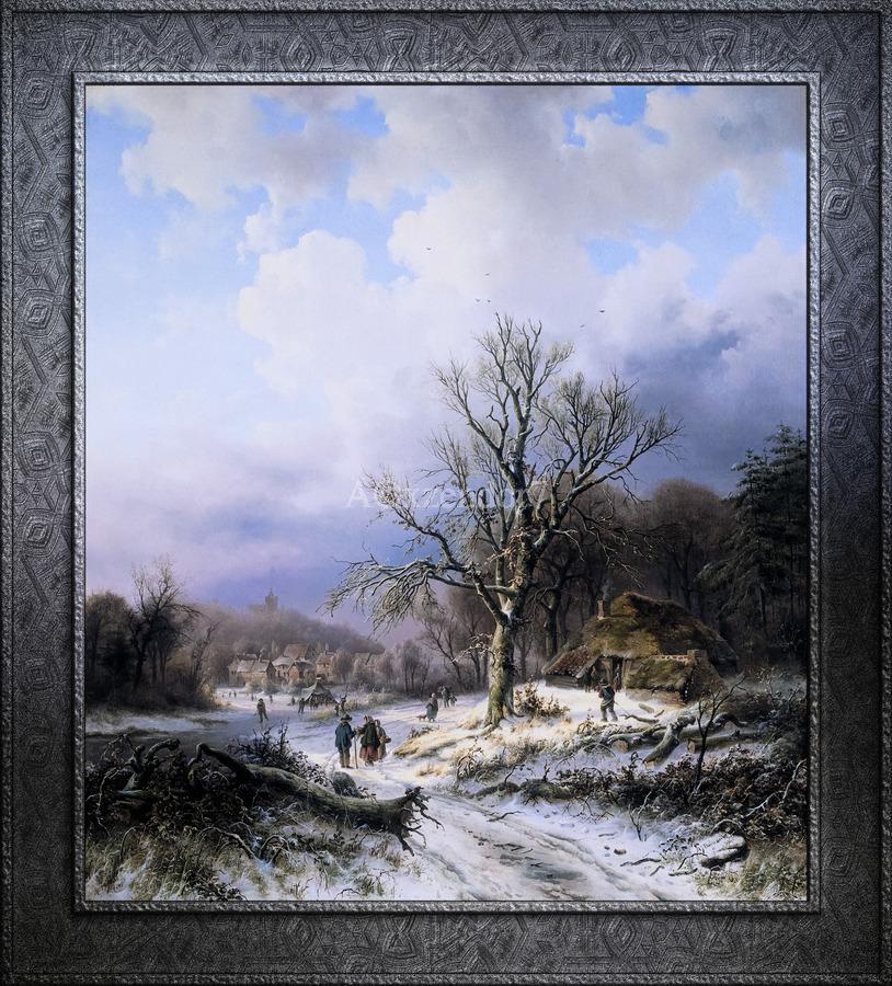 Snow Landscape by Alexander Joseph Daiwaille Classical Art Xzendor7 Old Masters Reproductions  Print