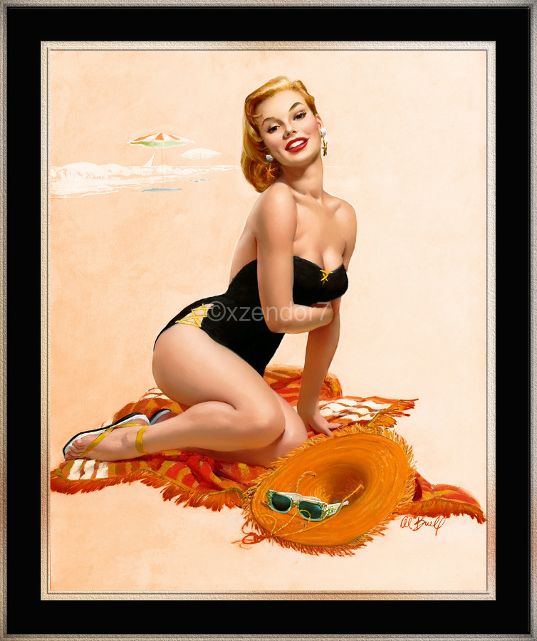 Summertime Sweetheart by Al Buell Vintage Xzendor7 Old Masters Art Reproductions  Print