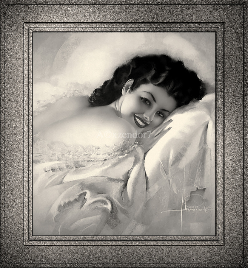 Sweet Dreams by Rolf Armstrong Vintage Illustration Xzendor7 Art Reproductions BW  Print