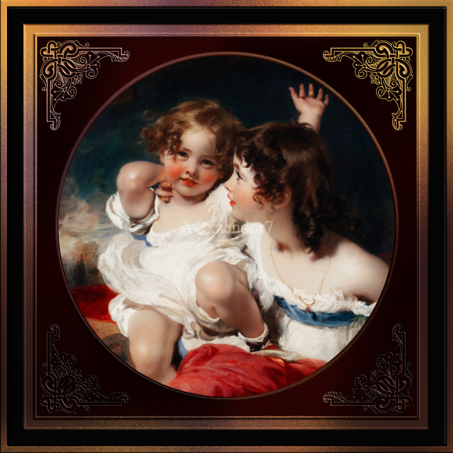Nature - The Calmady Children by Sir Thomas Lawrence Classical Fine Art Xzendor7 Old Masters Reproductions  Print