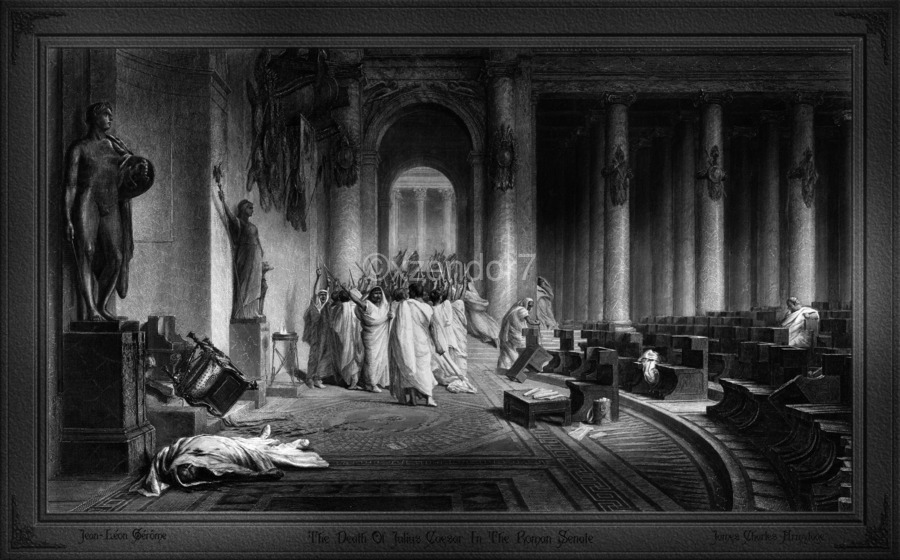 The Death Of Julius Caesar In The Roman Senate Engraving by James Charles Armytage Classical Fine Art Xzendor7 Old Masters Reproductions  Print